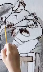 北京艺方美术学员温中微油画静物《玫瑰和贝壳》第一阶段 零基础油画##北京油画班##书画之美