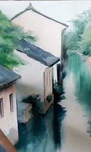 北京艺方美术培训学员张子曦油画风景练习《江南水乡》第三阶段#风景油画##成人油画速成班##零基础油画##书画之美