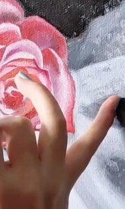 北京艺方油画班学员谭乐乐花卉油画作品《绢布和玫瑰》第二阶段#北京艺方油画班##北京油画速成班##书画之美
