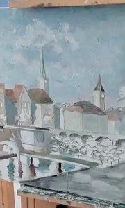 北京艺方美术学员张子曦油画风景《河畔》第一阶段 零基础油画速成班#北京油画速成班##风景油画培训##书画之美