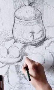 北京艺方美术学员熊昱彤油画静物作品《青花瓷瓶和石榴》第一阶段#北京艺方油画速成班##零基础学油画##书画之美