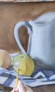 北京艺方美术学员王聆涛油画静物《白色瓷瓶》第二阶段 零基础学油画#北京艺方油画成人班#静物油画##书画之美