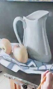 北京艺方美术学员王聆涛油画静物《白色瓷瓶》第三阶段 零基础学油画#北京艺方油画成人班##初学油画##油画速成班##书画之美