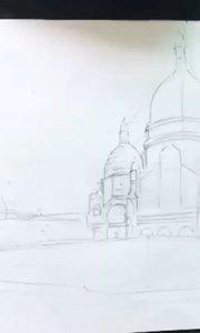 北京艺方学员朱淑红速写作品《巴黎圣心院》风景速写绘画#风景速写##北京艺方速写培训##书画之美