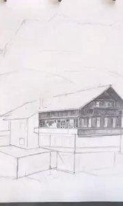 北京艺方学员朱淑红风景速写《山村》就是爱画画#北京成人速写班##北京风景速写班##速写培训##书画之美