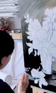 北京艺方学员熊昱彤油画作品《瓶中月季花》第二阶段 #北京艺方油画速成班##零基础油画#书画之美