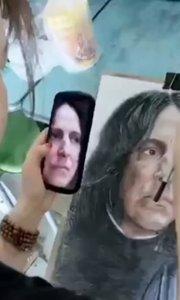 这个美女厉害啦!北京艺方美术学员崔百【嘀~】铅肖像作品《斯内普》我就是爱画画#手绘彩铅画##书画之美