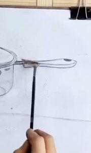 北京艺方美术学员李景瑞水粉金属器皿写生《热奶锅》绘画作品 零基础学画画#水粉画作品##北京艺方水粉班##书画之美