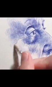 北京艺方美术培训 圆珠笔素描绘画《肖像局部》素描笔法绘画示范 圆珠笔画肖像#书画之美
