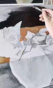 北京艺方美术学员夏云汉油画静物作品《姜黄猫和玫瑰花》第一阶段 零基础学油画#我就是爱画画##书画之美