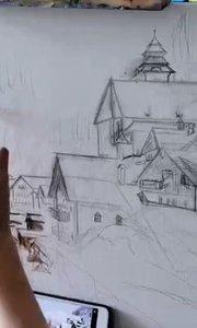 北京艺方学员张莉莉油画作品《落雪都市》第一阶段油画作品##北京艺方油画培训班#书画之美