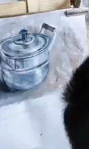 北京艺方学员李景瑞水粉绘画作品金属器皿写生《铝锅》零基础学水粉画#水粉画作品##水粉写生#书画之美
