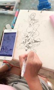 北京艺方学员朱淑红插画作品《美女与骷髅》美漫绘画 零基础学插画#插画作品##黑白插画#书画之美