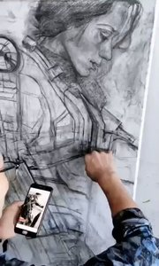 猜猜画的人是谁?!北京艺方学员李景瑞素描《明日边缘》第一阶段 北京成人美术班#人像素描##明星素描画##书画之美