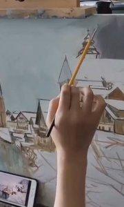北京艺方学员张莉莉油画作品《落雪都市》第二阶段 起稿 油画作品#书画之美