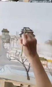 北京艺方学员许诤风景油画作品《钟鼓楼》原创油画作品第二阶段 #老年油画培训#老年学美术##书画之美