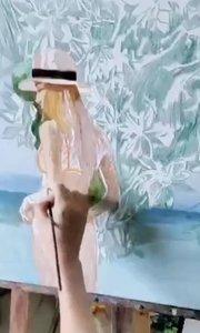 北京艺方油画班学员刘芳根据旅游照片创作的油画《海岸风情》第二阶段 画得太棒了!#北京艺方美术班##风景油画##书画之美