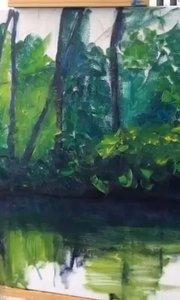 北京艺方学员朱淑红油画作品!风景油画《隔岸美景》北京艺方,一个享受艺术的地方!#书画之美