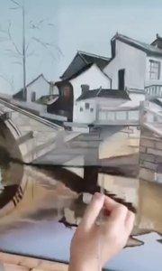 哇!这幅油画画的好漂亮!北京艺方学员宋翠萍风景油画作品《水乡石桥》北京油画培训班!零基础学油画!#书画之美