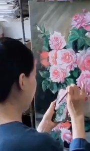 北京艺方学员熊昱彤油画作品《瓶中月季花》完成 这幅油画很漂亮! #北京艺方油画速成班##零基础油画课程#书画之美