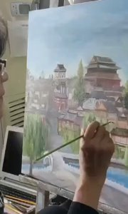 北京艺方学员许诤风景油画作品《钟鼓楼》原创油画作品完成 北京艺方美术培训#北京美术班##北京油画成人班##书画之美