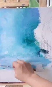 零基础学油画!北京艺方学员作品《绚烂林间》刮刀油画作品 我就是爱画画!#北京艺方油画班##油画刮刀##书画之美
