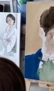 北京艺方美术学员陈旻油画肖像作品《刘昊然》第一阶段铺色 我就是爱画画  油画培训##北京油画班##油画人像##书画之美