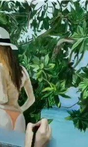 北京艺方学员刘芳根据旅游照片创作的油画《海岸风情》第三阶段 画得太棒了!#北京油画速成培训##风景油画##书画之美