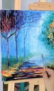 你想画画吗?北京艺方学员作品《绚烂林间》6画人物哈哈 刮刀油画作品 我就是爱画画!北京艺方油画班#书画之美