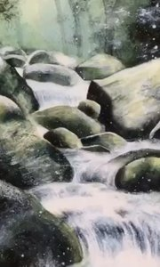 北京艺方学员朱淑红水彩作品《溪水流》水彩风景绘画作品!#水彩风景##北京水彩培训##学水彩绘画##书画之美