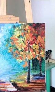 你想画画吗?北京艺方学员作品《绚烂林间》绘画完成 刮刀油画作品 #北京艺方油画班##风景油画##零基础学油画#书画之美