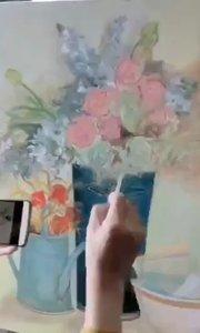 北京艺方学员王小红油画花卉作品《静璱》,第三阶段 我爱画油画#油画培训##油画基础培训##花卉油画培训##书画之美