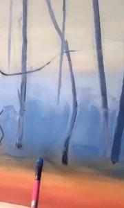爱上油画!风景油画作品!北京艺方学员朱淑红油画作品《寂静森林》第一阶段铺色#零基础学油画##风景油画班##书画之美