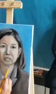 北京艺方学员田洁油画女青年真人肖像写生绘画,北京艺方美术培训 学员作品第二阶段起稿#零基础油画##油画写生##书画之美