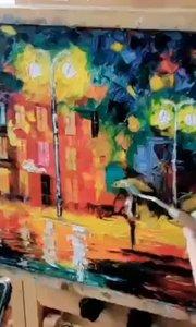 好漂亮的油画作品!北京艺方学员崔百合油画作品《都市一角》零基础学油画#北京油画班##风景油画##书画之美