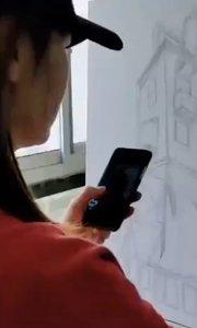 北京艺方学员崔百合油画作品《小房子》第一阶段起稿铺色 北京油画班#北京美术培训班##零基础学油画##北京油画速成班##书画之美