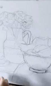 北京艺方学员夏云汉油画静物作品《黄碗和黄花》第一阶段#油画静物##北京艺方美术班##油画课##书画之美