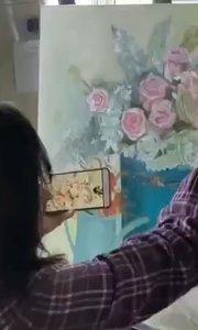 北京艺方学员王小红油画花卉作品《静璱》,第四阶段 我爱画油画#油画成人培训##油画基础培训##花卉油画培训#书画之美