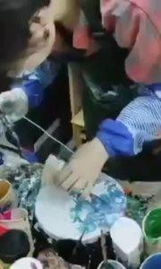 锤子能画画?我可以!流体创意绘画作品 北京艺方学员王昭君丙烯画作品 流体画创作#书画之美