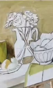 北京艺方学员夏云汉油画静物作品《黄碗和黄花》第二阶段#油画静物##北京艺方美术班##书画之美