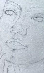 北京艺方学员朱淑红素描作品《托腮女孩》素描肖像绘画 零基础学素描#书画之美
