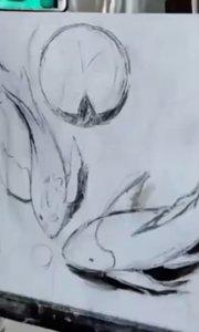 想零基础学油画!?北京艺方学员鄂晓宇油画装饰画作品《连年有鱼》第一阶段 北京油画班 零基础学油画#书画之美