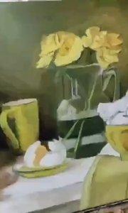 零基础北京艺方学员夏云汉油画静物作品《黄碗和黄花》第三阶段#油画静物##北京艺方美术班###油画培训##书画之美