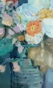 油画花卉绘画!艺方学员油画作品《静物花卉》#零基础学油画##北京油画班##书画之美