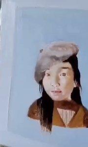 油画老年培训班 北京艺方学员李德惠油画肖像作品《桃桃》第三阶段绘画 零基础学油画#书画之美