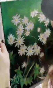 零基础学油画 北京艺方学员吕佳欣原创油画作品《路边野花》完成绘画#零基础学油画##北京油画培训班##书画之美