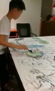 小童鞋、老板之子,又到工作室来画画。搞得像个大画家 ,挥挥洒洒。#花椒之子 #带着花椒去旅行 #身边正能量