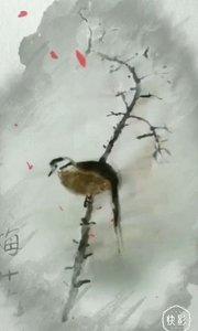 海蓝公主,水墨画系列……白梅停倦鸟
