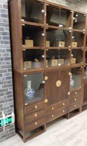 #新中式家具 #展示柜 #家具定制 整面墙玻璃门纯实木展示柜