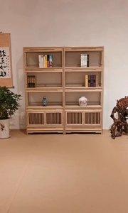文人雅士追求的禅意书柜,具有文化氛围的禅意气息,充满了宁静感。#书柜#置物架#博古架#定制家具#新中式家具#